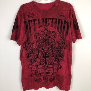 Affliction Lost Souls red T-shirt size Large